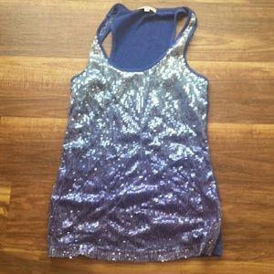 Blue sequined tank
